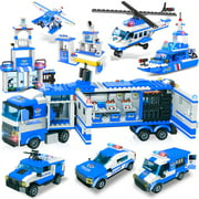 8-in-1 City Police Building Blocks Toy Set, Best Learning & Roleplay STEM Construction Toy Gift for Boys and Girls Age 6-12 (1039 Pieces)