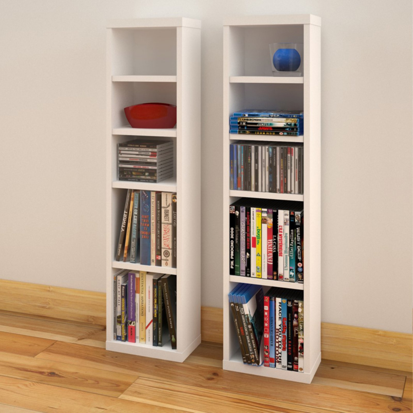 Liber-T 4-Shelf Modular CD / DVD Storage Towers, Set of 2, White