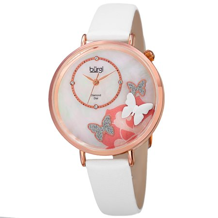 Women's Quartz Diamond Leather White Strap Watch with FREE Bangle (Leather Cuff Bangle Fashion Watches)