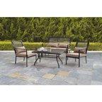 Mainstays Wicker 4 Piece Patio Conversation Set Seats 4