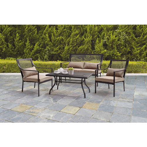Mainstays Bellingham 4-Piece Patio Conversation Set, Seats 4