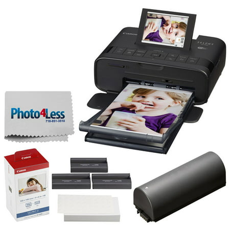 Canon SELPHY CP1300 Compact Photo Printer (Black) + Canon KP-108IN Color Ink and Paper Set + Photo4Less Cleaning Cloth – Top Value Printer (Best Value Printer 2019)