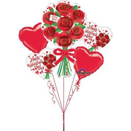 Valentine's Day Red Rose Balloon 5pc - Valentines Ballons