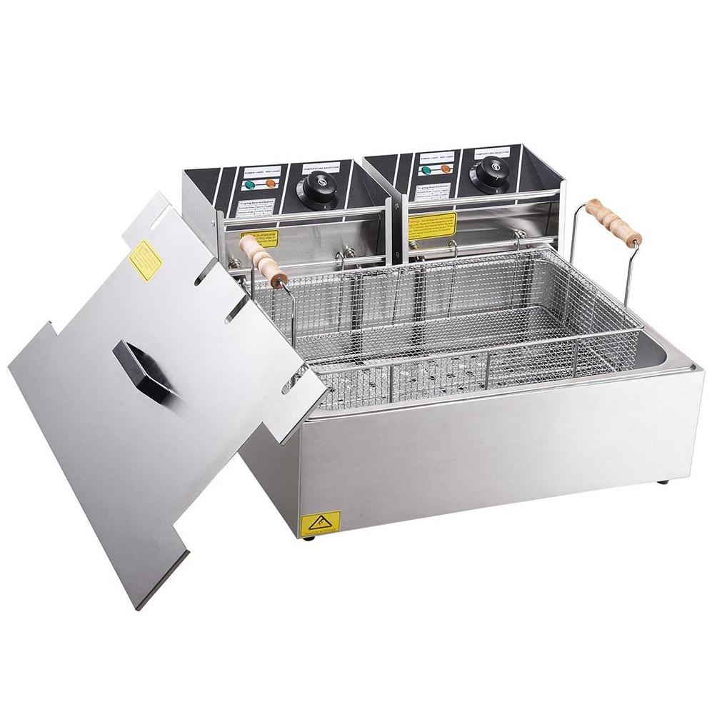 Clevr XL 20 Liter Stainless Steel Single Large Tank Commercial Countertop Deep Fryer Machine
