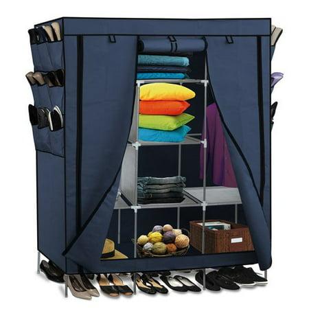 Portable Storage Organizer Wardrobe Closet Shoe Rack Blue 13 Customizable Shelves With Sy Rust