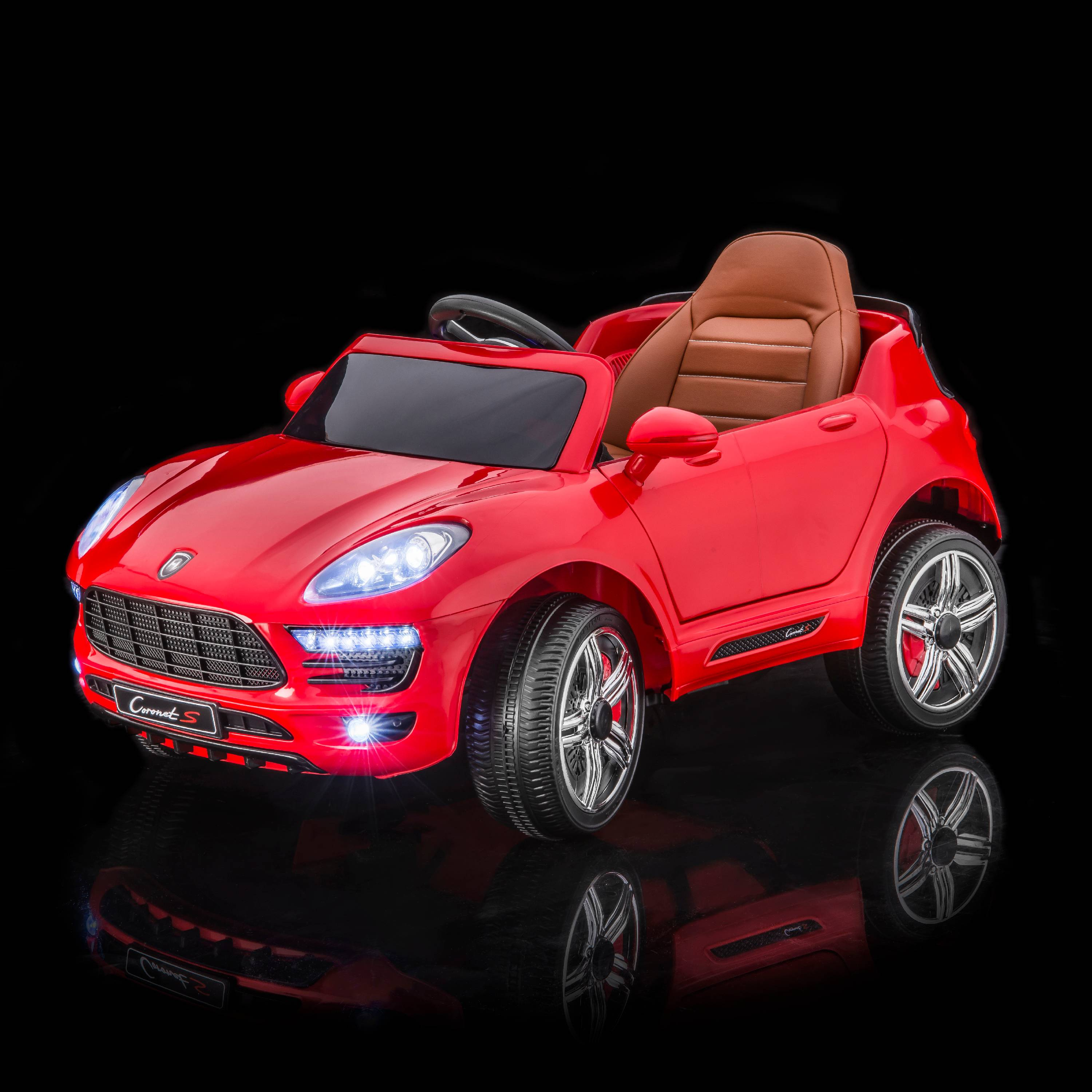 SPORTrax Porsche Macan S Style Kid's Ride On Car, Battery Powered, Remote Control, w/FREE MP3 Player - Red