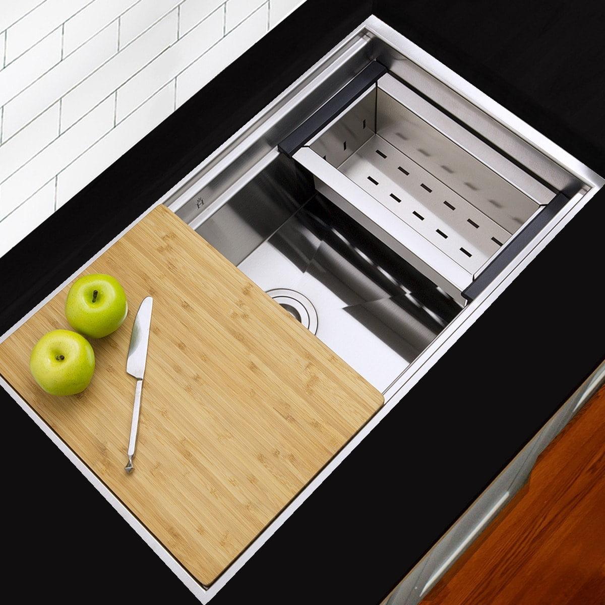 Highpoint Collection Highpoint Stainless Steel 30 Inch Zero Radius Undermount Kitchen Sink With Colander Cutting Board Drain Walmart Com Walmart Com