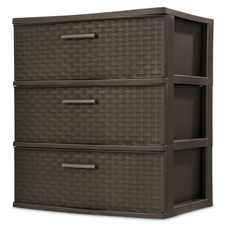 Sterilite, 3 Drawer Wide Weave Tower, Espresso ()