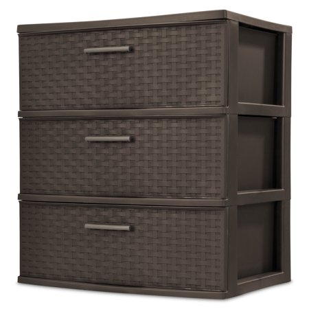 Sterilite 3 Drawer Wide Weave Tower Espresso