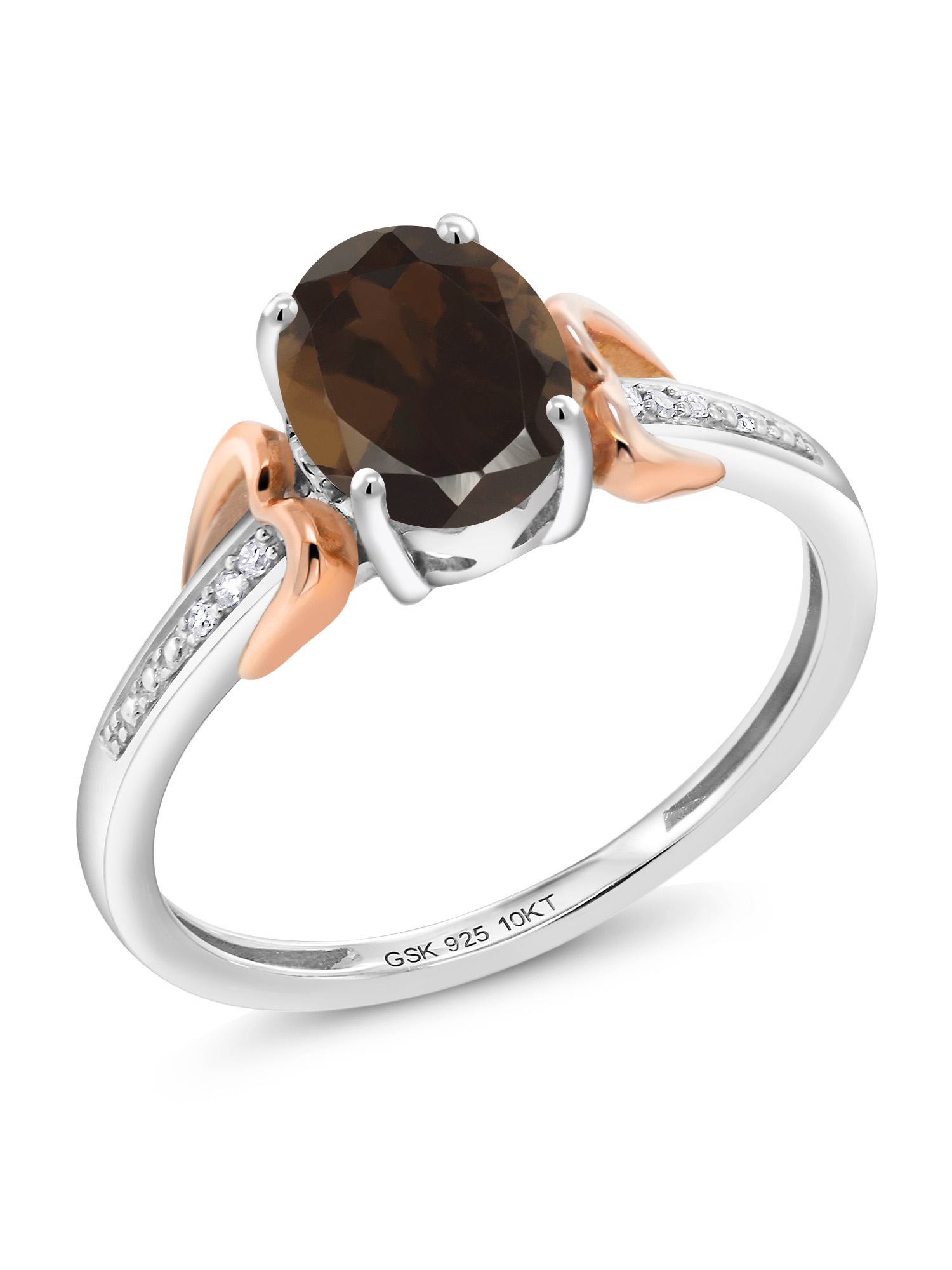 1.20 Ct Brown Smoky Quartz 925 Silver with 10K Rose Gold Diamond Accent Ring