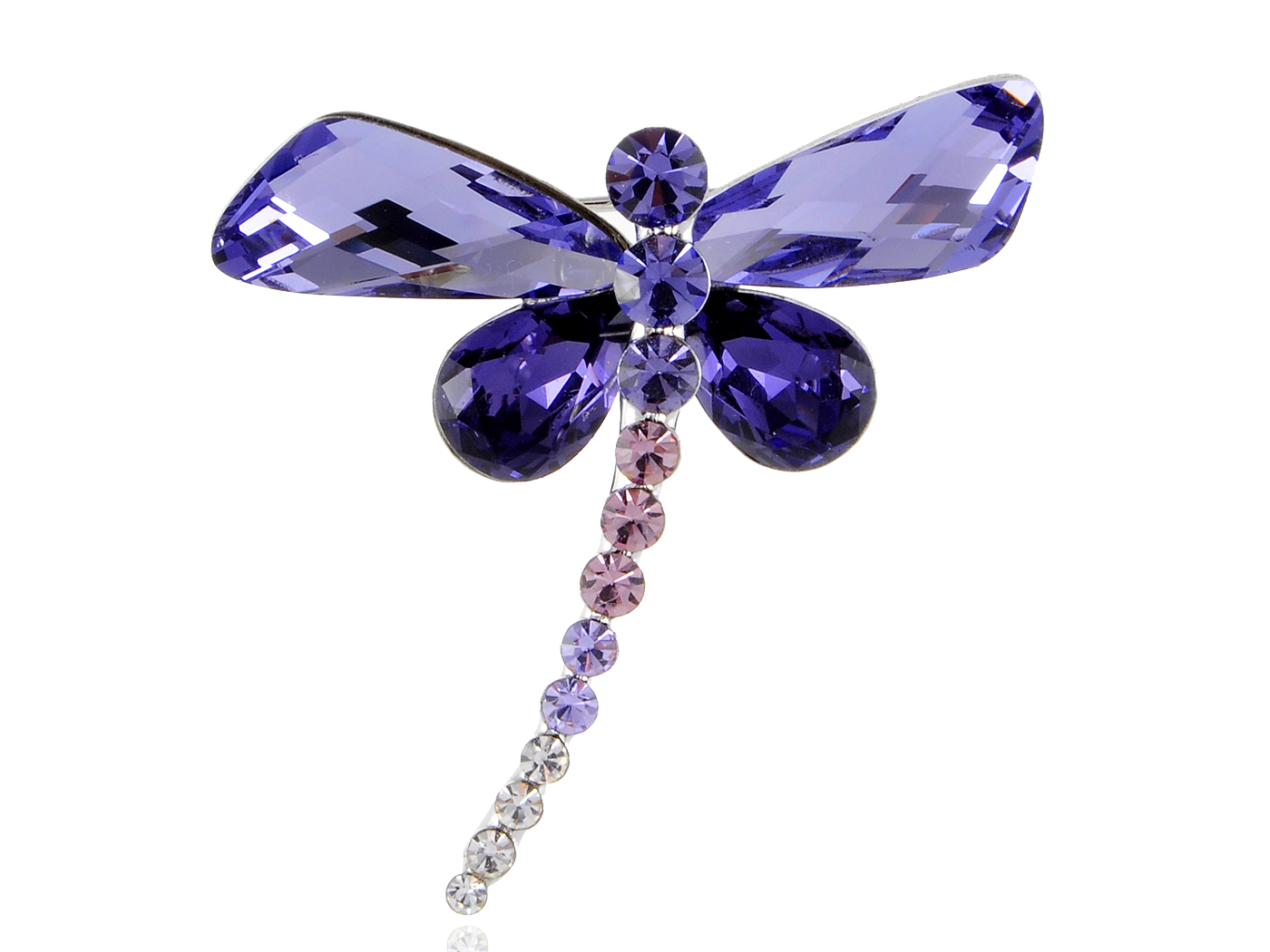Tanzanite Purple Abstract Dragonfly Body Crystal Rhinestone Pin Brooch by