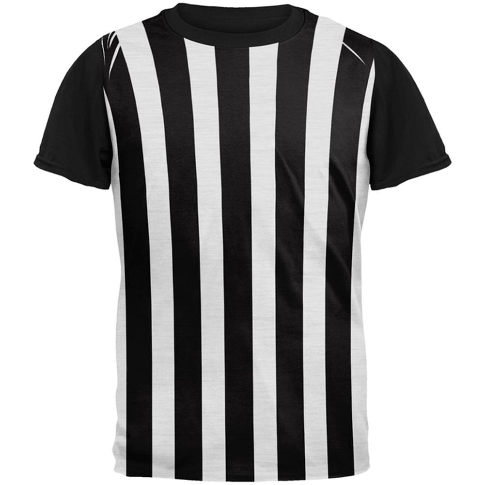 Halloween Referee Costume All Over Mens Black Back T Shirt