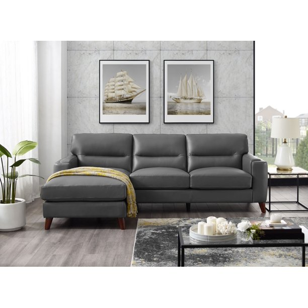 Hydeline Elm 100 Leather Sectional, Wrap Around Sectional Sofas