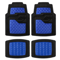 Auto Drive 4PC Rubber Floor Mats Metallic Plate Blue - All Weather Protection