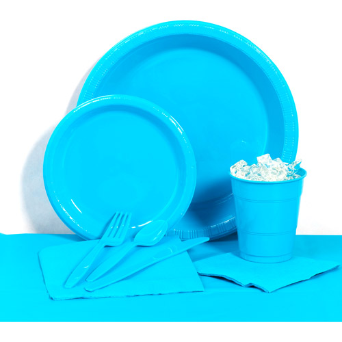 Turquoise Plastic Tableware Party Pack for 20