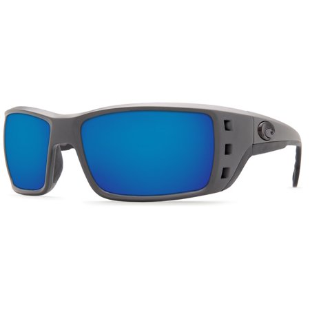 Costa Del Mar Permit Matte Gray Rectangular Sunglasses Blue Lens