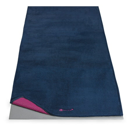 Gaiam Grippy Yoga Mat Towel Vivid Blue Fuchsia Walmart Com