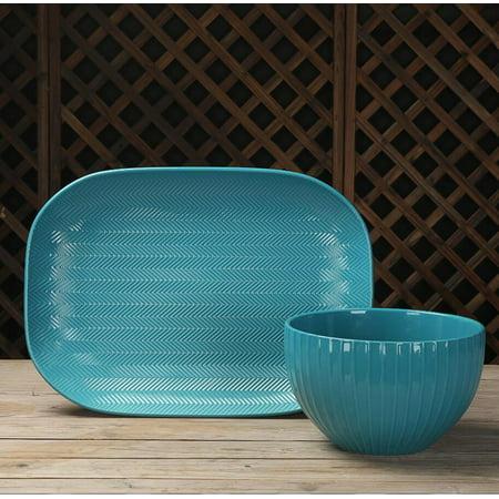 Mainstays Oval Platter and Large Serve Bowl, 2-Piece Serving Set