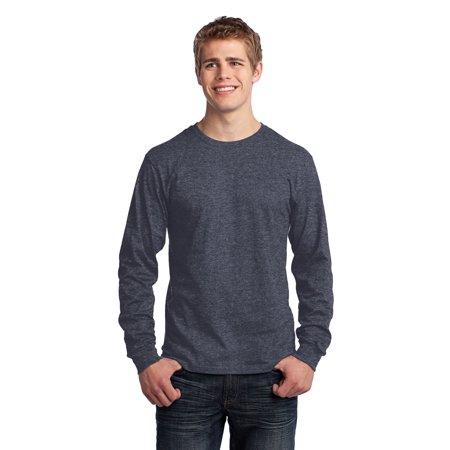 Port & Company® - Long Sleeve Core Cotton Tee. Pc54ls Heather Navy 4Xl - image 1 de 1
