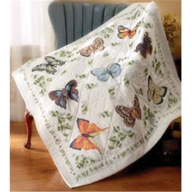 326026 Stamped Cross Stitch Lap Quilt 45 in. x 45 in. -Butterfly Collection