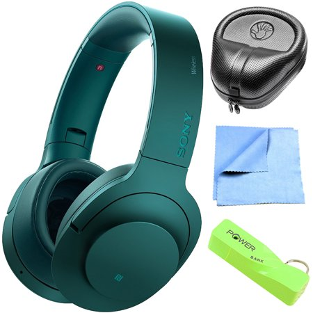 Sony MDR100 h.Ear on Wireless NC On-Ear Bluetooth Headphones w/ NFC - Viridian Blue (MDR100ABN/L) with HardBody Sized Headphone Case, 2600mAh Portable Keychain Power Bank & Cleaning Cloth