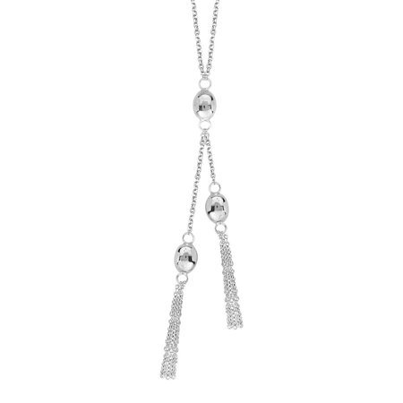 Sterling Silver Rhodium Plated Trio Oval Bead Lariat Necklace Cable Chain Spring Lock - 18 Inch (Chain Lariat)