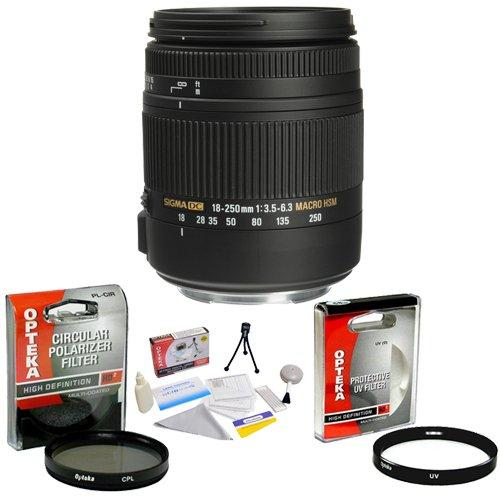 Sigma Super Zoom 18-250mm f/3.5-6.3 DC Macro OS HSM (Optical Stabilizer) Lens for Nikon + Opteka UV Filter + Opteka CPL Filter + Opteka 5 Piece Cleaning Kit