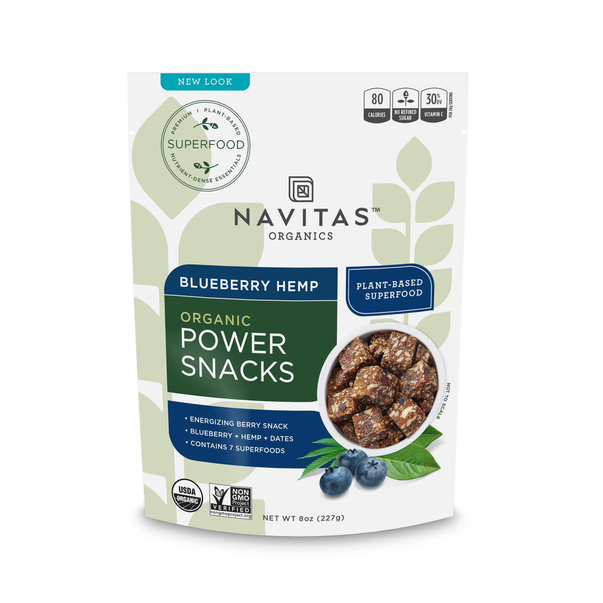 Navitas Organics Power Snacks, Blueberry Hemp, 8.0 Oz, 11 Servings