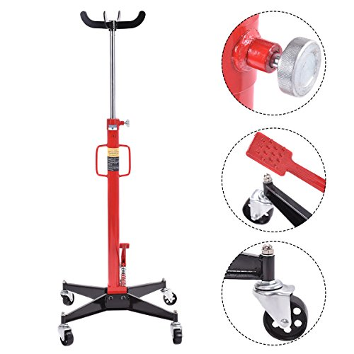 GHP 1100-Lbs Black & Red Iron Spring Loaded Transmission Jack with Swivel Casters