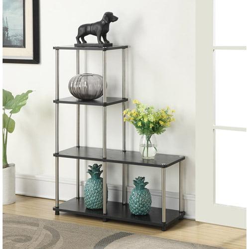 "Convenience Concepts Designs2Go No Tools Multi Shelf ""L"" Bookshelf, Black and Silver by Convenience Concepts"