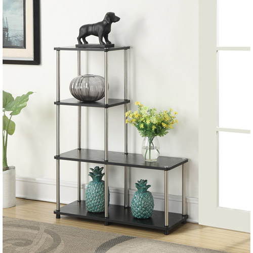 Designs 2 Go Multi-Level Bookcase, Black and Silver