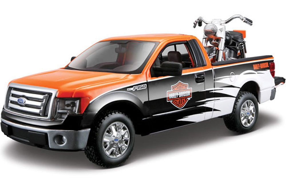 2010 1958 Ford F-150 STX Pickup Harley-Davidson   FLH Duo Glide Motorcycle, Orange, Black... by Maisto