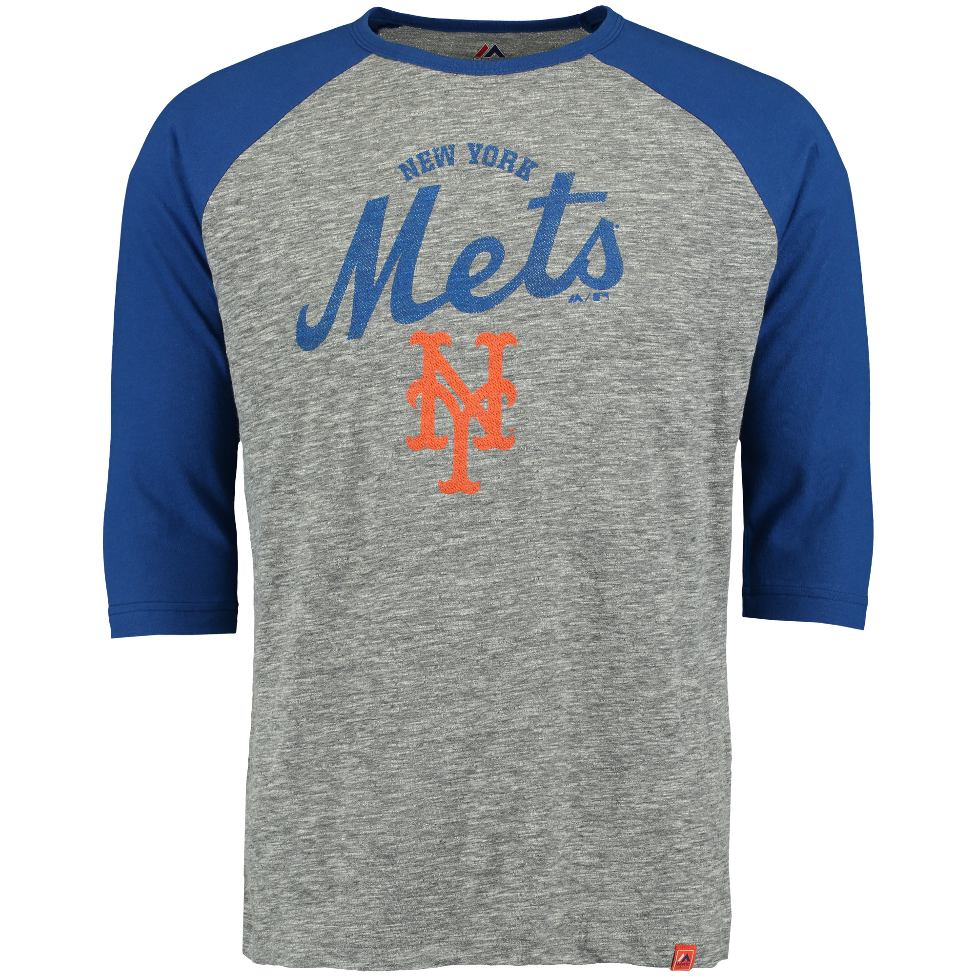 New York Mets Majestic Fast Win Three-Quarter Sleeve Raglan T-Shirt - Gray/Royal
