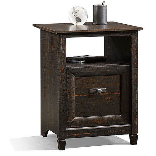 Sauder New Cottage 3-in-1 File Cabinet and Utility Stand, Antiqued Black Paint