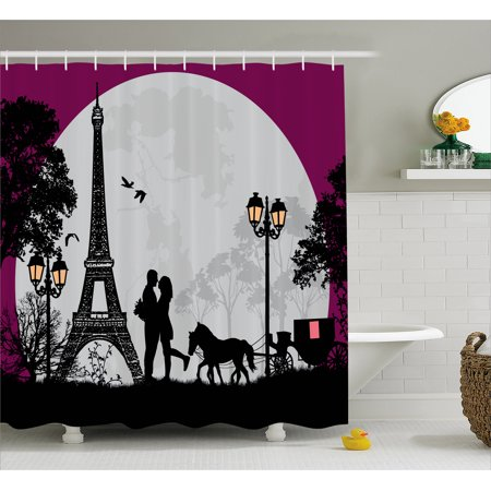 Romantic Shower Curtain Horse Carriage Couple Hugging In Front Of The Eiffel Tower And Full