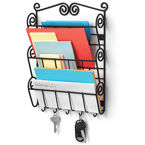 Scroll Wall Mount Letter Holder Black