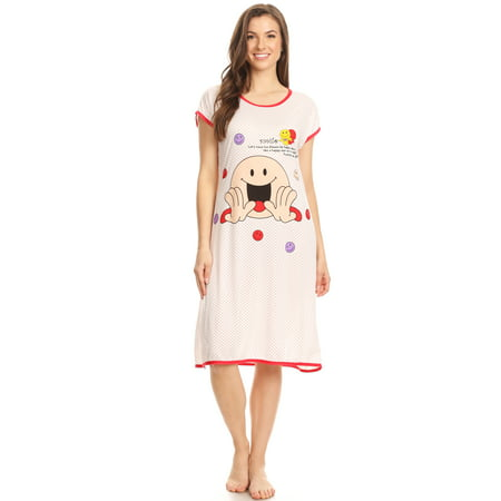 5020 Womens Nightgown Sleepwear Cotton Pajamas - Woman Sleeveless Sleep Dress Nightshirt Red # 75 -