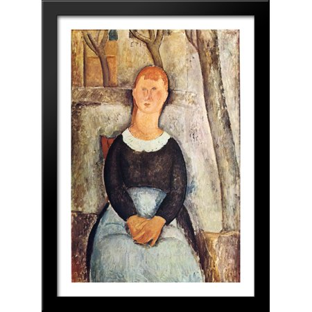 The Pretty Vegetable Vendor 28x40 Large Black Wood Framed Print Art by Amedeo Modigliani (Pretty Wool)
