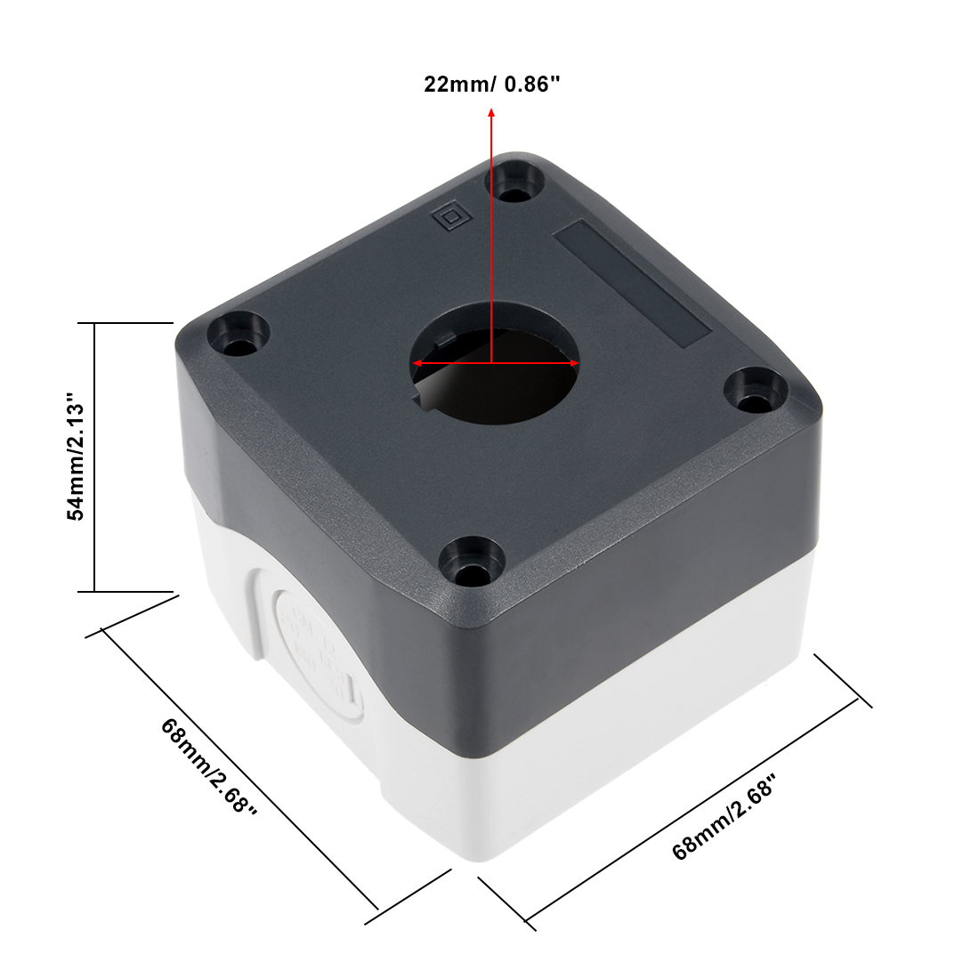 22mm Push Button Control Station 1 Switch Protector Black White