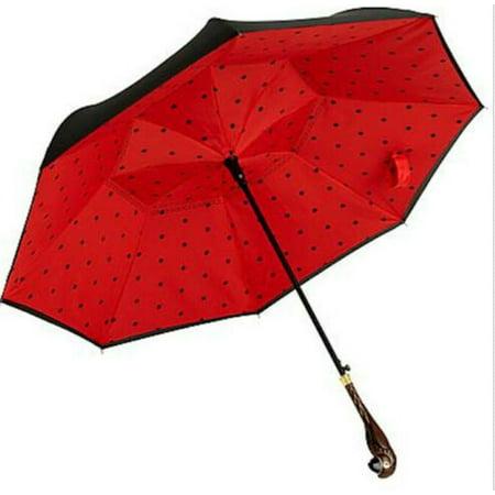 Disney Mary Poppins Returns Parrot Head Umbrella Limited Edition  ~  Black/Red Polka Dots
