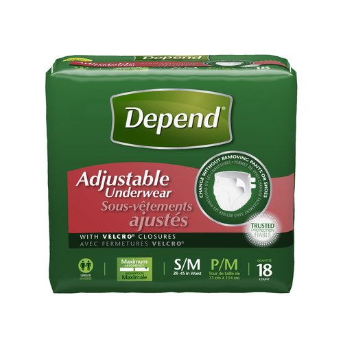 Depend Adjustable Underwear, Maximum Absorbency S/M, 18 Count