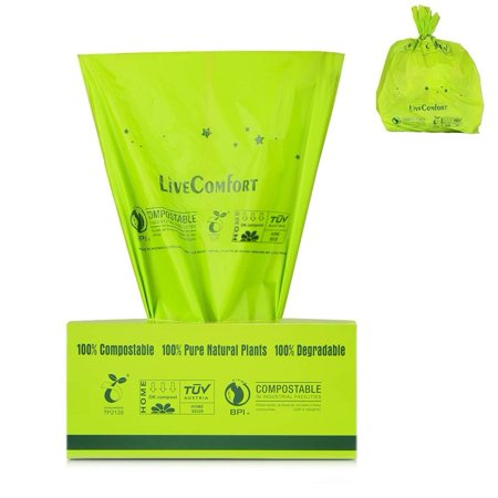 LiveComfort 100-Count 100% Compost Bags, Extra Thick 0.71 Mil, 2.6 Gallon, Small Kitchen Trash Bags, US BPI&ASTM6400 Certified Biodegradable Trash Bags, Compostable Bags and Dog Poop