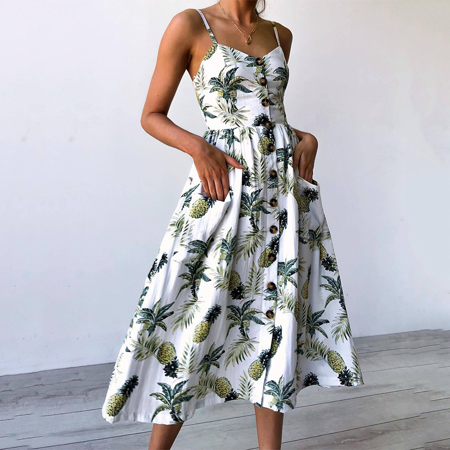 Women's Casual Beach Summer Dresses Solid/Floral Cotton Bohemian Flattering A-Line Swing Spaghetti Strap Button Up Midi Sundress ()