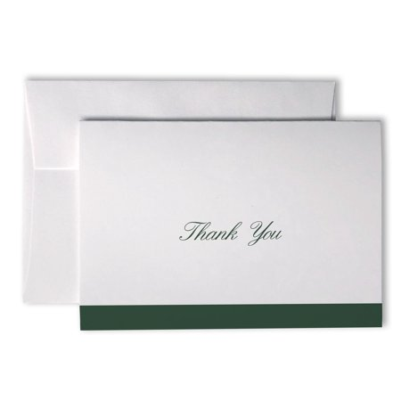 Formal Striped Cursive Thank You Cards - 48 Cards & Envelopes (Green)
