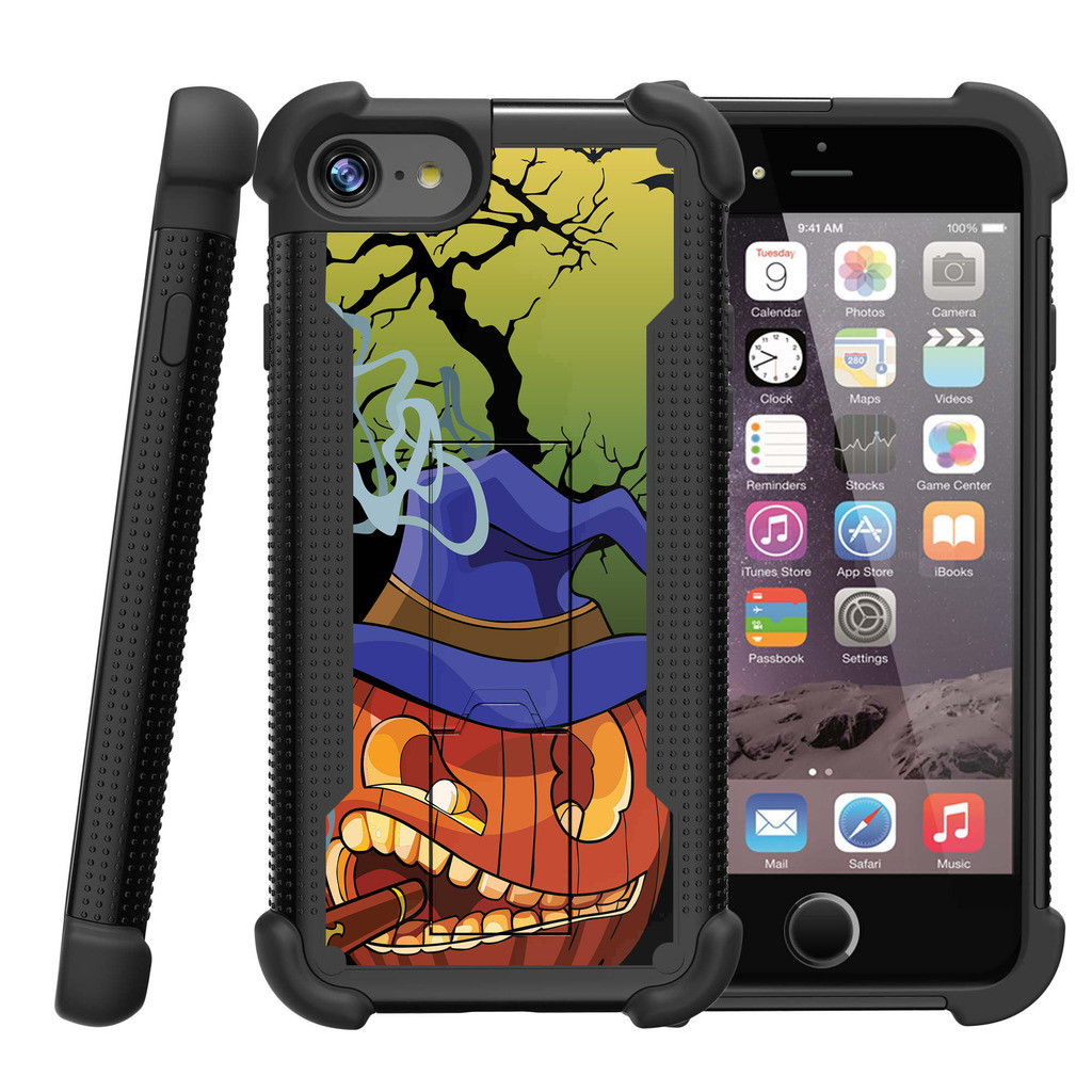 "Apple iPhone 7 4.7"" Shockwave Armor Dual Layer Kicsktand Case - Scary Pumpkin"