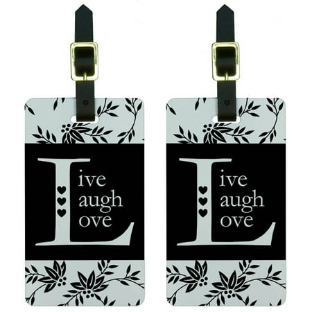 Live Laugh Love Black White Luggage Tags Suitcase Carry On Id  Set Of 2