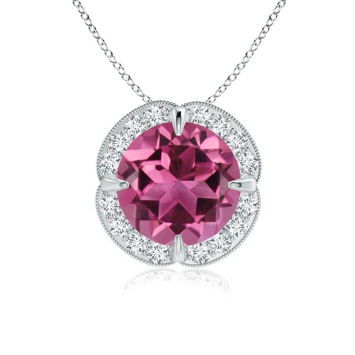 Angara Claw-Set Pink Tourmaline Clover Pendant with Diamond Halo J3RH7hHp