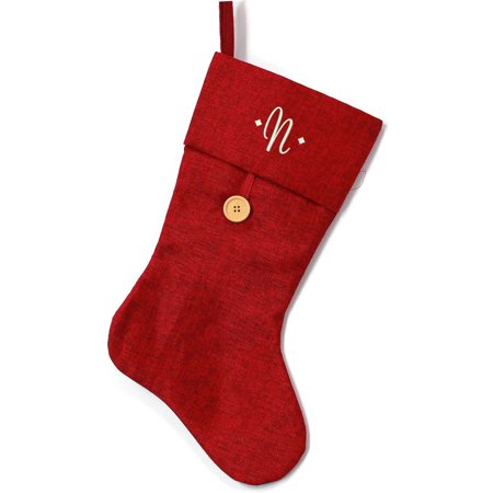 Monogrammed Christmas Stocking, Burgundy Burlap and Button with Script  Embroidered Initial - Walmart com