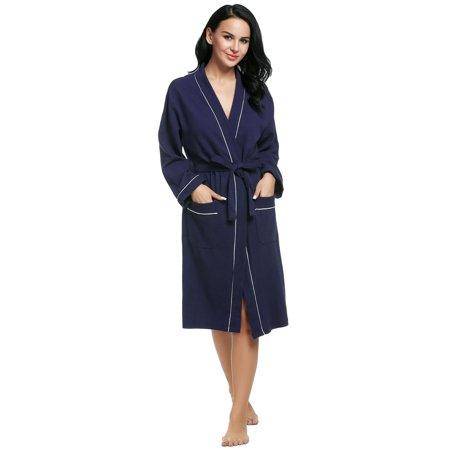 Women Men Long Sleeve Cotton Waffle-Weave Bathrobe Sleepwear Long Waffle Robe RllYE ()