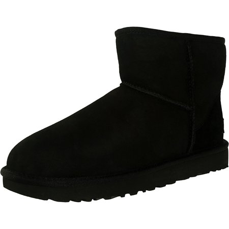 Ugg Women's Classic Mini II Leather Black Ankle-High Suede Boot - -